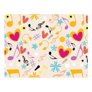 Teste padrão musical no abstrato cartão postal