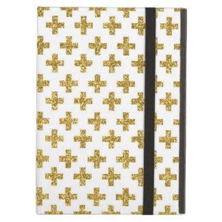 Teste padrão na moda da cruz do brilho do ouro