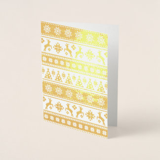Teste padrão nórdico do feriado do Natal acolhedor Cartão Metalizado