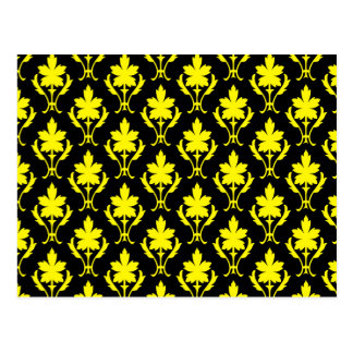 Teste padrão ornamentado preto e amarelo do papel cartão postal