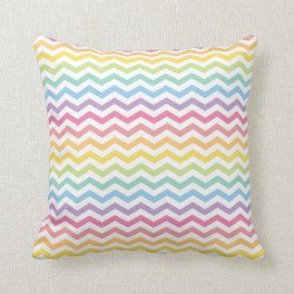 Teste padrão Pastel de Chevron do arco-íris Almofada