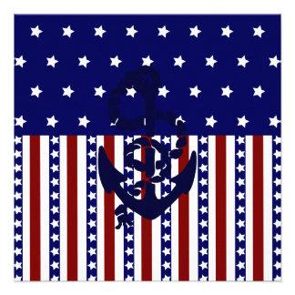 Teste padrão patriótico do marinheiro da âncora da convite