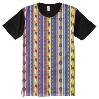 Teste padrão peruano azul e marrom do lama camiseta com impressão frontal completa
