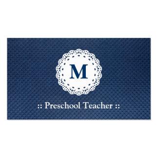 Teste padrão pré-escolar do azul do monograma do cartão de visita