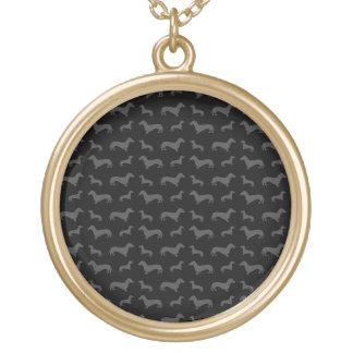 Teste padrão preto bonito do dachshund colar com pendente redondo