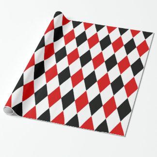 Teste padrão preto branco vermelho do diamante do papel de presente