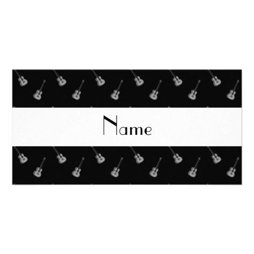 Teste padrão preto conhecido personalizado da guit cartões com fotos