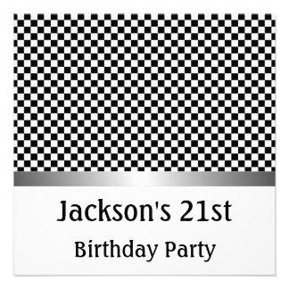 Teste padrão preto da festa de aniversário branc convites personalizado