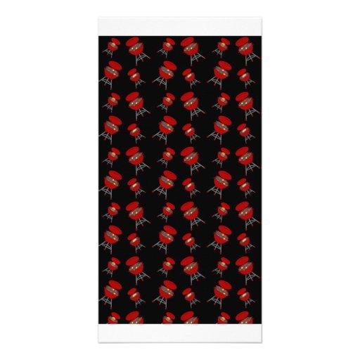Teste padrão preto do assado cartão com fotos