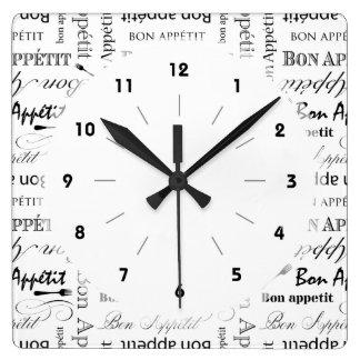 Teste padrão preto e branco clássico de Appetit do Relógios De Pendurar