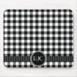 Teste padrão preto e branco da xadrez do guingão p mouse pad