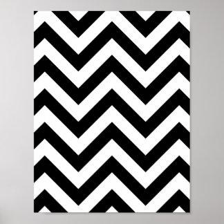 Teste padrão preto e branco de Chevron do ziguezag Poster