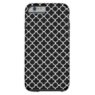 Teste padrão preto e branco de Quatrefoil Capa Tough Para iPhone 6