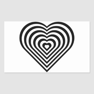 Teste padrão preto e branco do coração adesivos em forma retangular