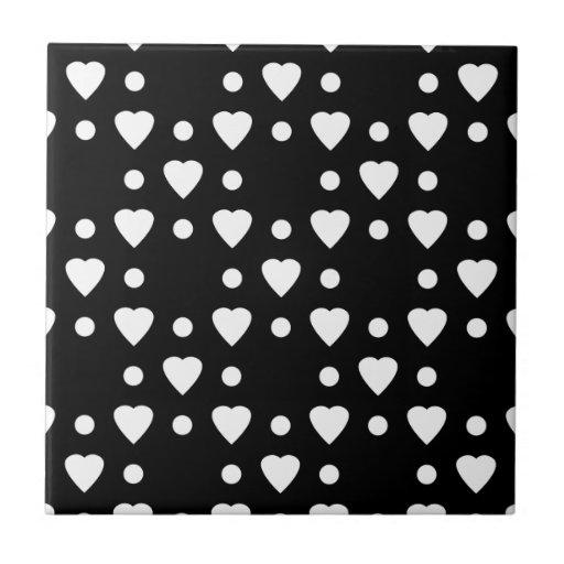 Teste padrão preto e branco do coração azulejos de cerâmica