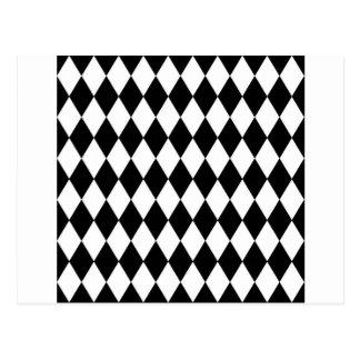 Teste padrão preto e branco do Harlequin Cartão Postal