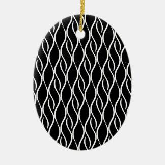 Teste padrão preto e branco elegante ornamento de cerâmica oval