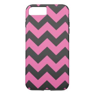 Teste padrão preto e cor-de-rosa de Chevron Capa iPhone 7 Plus