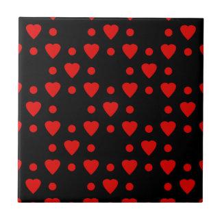 Teste padrão preto e vermelho do coração azulejos de cerâmica