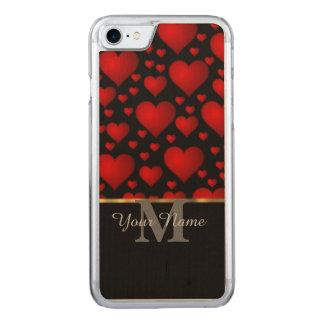 Teste padrão preto e vermelho do coração do amor capa iPhone 7 carved