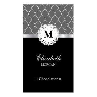 Teste padrão preto elegante do laço de Chocolatier Cartão De Visita