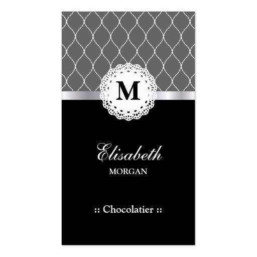 Teste padrão preto elegante do laço de Chocolatier Modelo Cartão De Visita