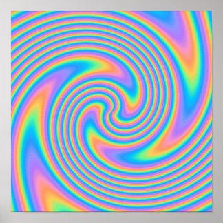 Teste padrão psicadélico multicolorido do redemoin posteres