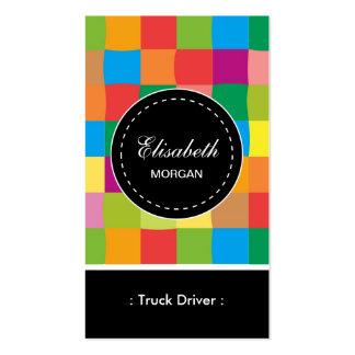 Teste padrão quadrado colorido do motorista de cartão de visita