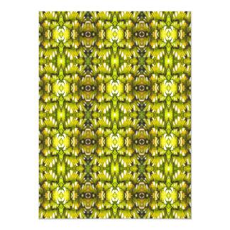 Teste padrão retro amarelo e verde da mostarda do convite 13.97 x 19.05cm