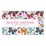 Teste padrão retro colorido das borboletas e de modelos cartão de visita