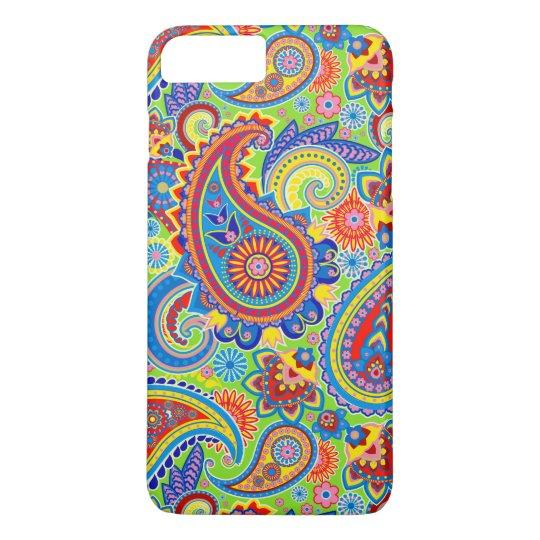 Teste padrão retro colorido de Paisley Capa iPhone 7 Plus