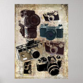 Teste padrão retro das câmeras do Grunge do vintag Poster