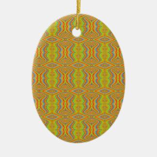 Teste padrão retro do fractal dos anos 60 amarelos ornamento de cerâmica oval
