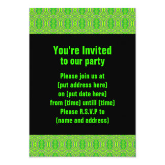 Teste padrão retro do Fractal dos anos 60 do verde Convites Personalizado