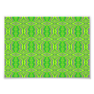 Teste padrão retro do Fractal dos anos 60 do verde Impressão De Foto