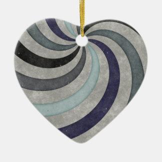 Teste padrão retro do redemoinho das cinzas azuis ornamento de cerâmica coração