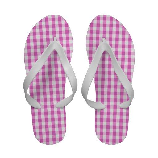 Teste padrão roxo & branco malva brilhante do guin sandálias de praia