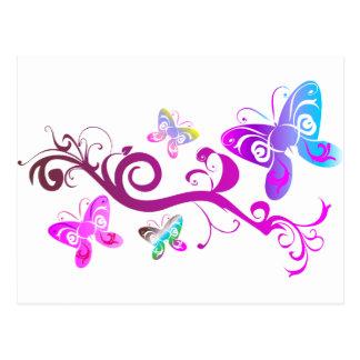 teste padrão roxo da asa do rosa do primavera das cartão postal