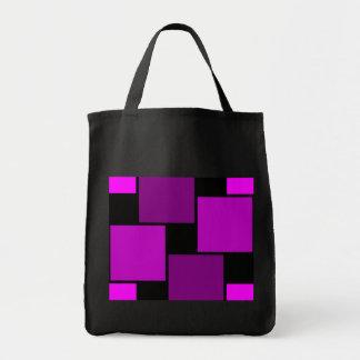 Teste padrão roxo dos quadrados bolsas de lona