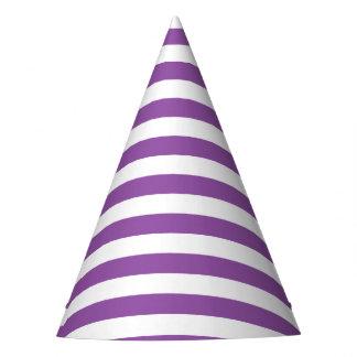 Teste padrão roxo e branco da listra chapéu de festa