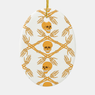 teste padrão sem emenda com crânios e ossos da mão ornamento de cerâmica oval