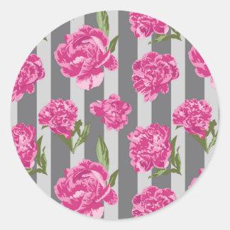 Teste padrão sem emenda da peônia listrada do rosa adesivo redondo