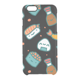 Teste padrão sem emenda feliz bonito do sushi no capa para iPhone 6/6S clear