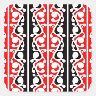 Teste padrão tradicional maori de Kowhaiwhai Adesivo Quadrado