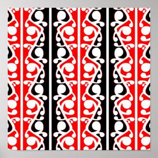 Teste padrão tradicional maori de Kowhaiwhai Pôster
