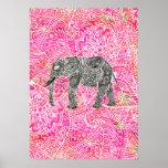Teste padrão tribal cor-de-rosa do Henna do elefan Poster