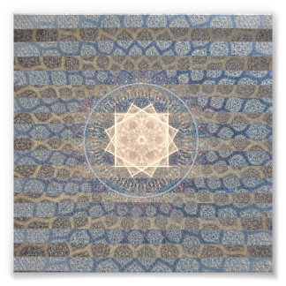 Teste padrão tribal da folha de Sun do azul e do Impressão De Foto