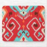 Teste padrão tribal do ikat feminino vermelho mode mouse pad
