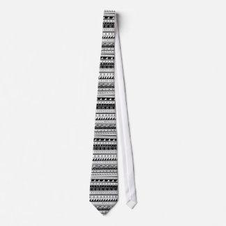 Teste padrão tribal preto e branco gravata