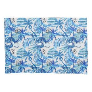 Teste padrão tropical azul brilhante da aguarela